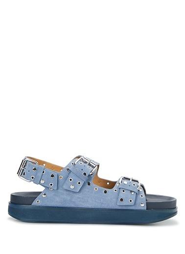 Etoile Isabel Marant Isabel Marant  Trok Detaylı Kadın Süet Sandalet 101623776 Mavi